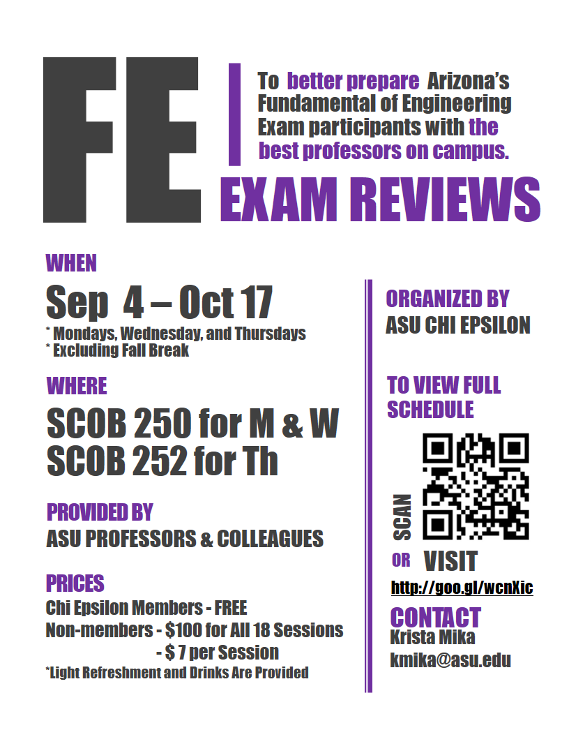 School of Biological and Health Systems Engineering » FE Exam Reviews