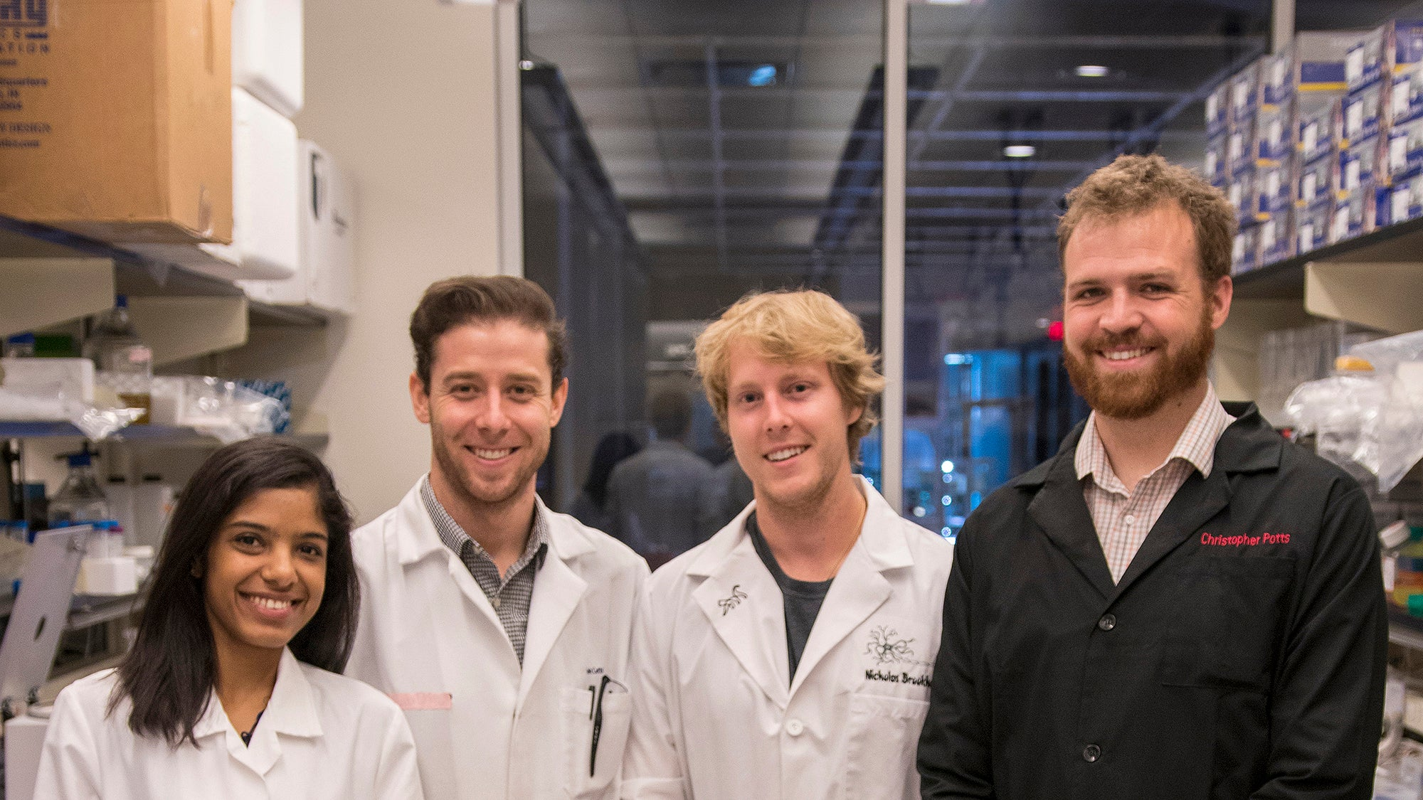 Student Awards: The stem cell wizards of ASU's Brafman Lab. Left to right: Sreedevi Raman, Josh Cutts, Nick Brookhouser and Christopher Potts. Photographer: Marco-Alexis Chaira/ASU